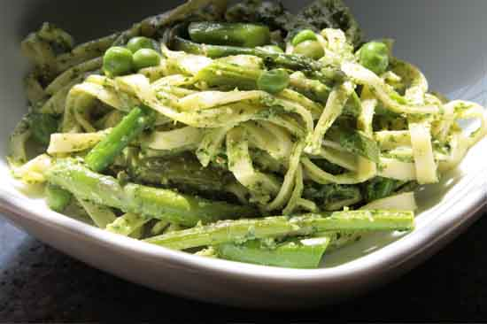 Vegan Pesto Pasta With Spring Vegetables