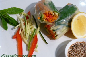 Rice paper rolls with sesame and soy dipping sauce