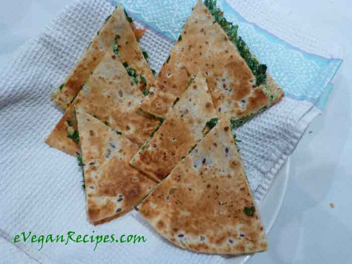 Vegan Quesadilla Recipe With Herbed Tofu And Baby Spinach