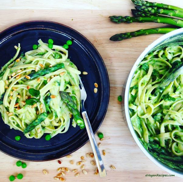 Creamy Asparagus and Minted Pea Fettuccine