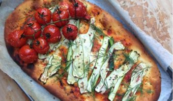Zucchini and Cherry Tomato Vegan Pizza