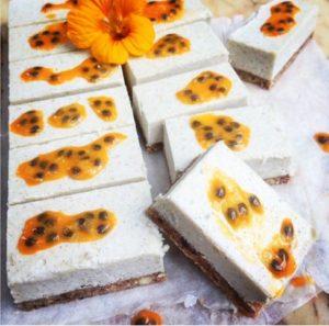 Raw Vegan Coconut Passion Fruit Slice