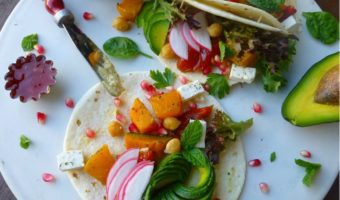 Rainbow Tacos with Herb Roasted Pumpkin and Vegan Feta